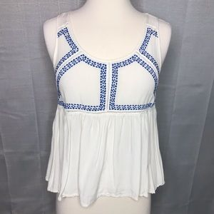 Ya Los Angeles Cream Embroidered Tank Sz Small